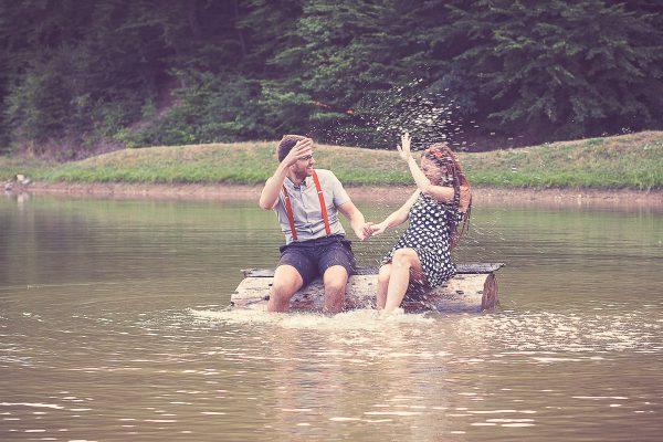rande fotenie Banská Štiavnica vo vode na jazere