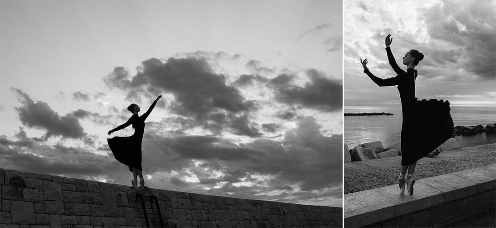 Putovanie za dušou tanečnice. Tanec ráno pri úsvite na pobreží Bari v Taliansku. Martin Almasi Photo Morning dancing in Bari, Italia.
