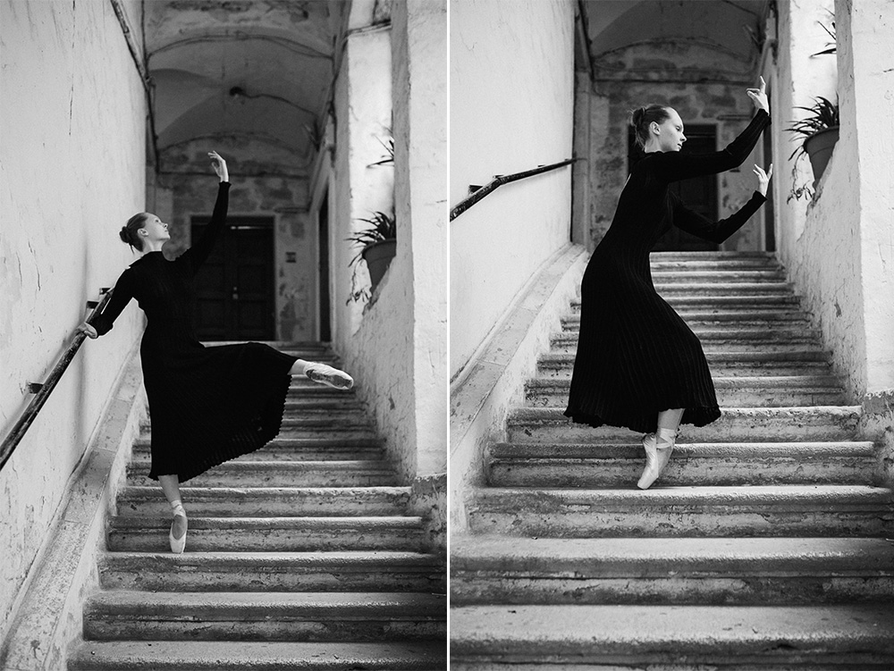 Putovanie za dušou tanečnice. Tanečnica Grétka tancuje v starých uličkách Bari. Gretka dancing in Bari streets old town. photo Martin Almasi photographer