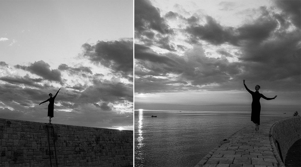 Grétka tancuje v prístave Bari pri východe slnka. Gretka dancing in Bari harbor in sunrise. Martin Almasi photographer