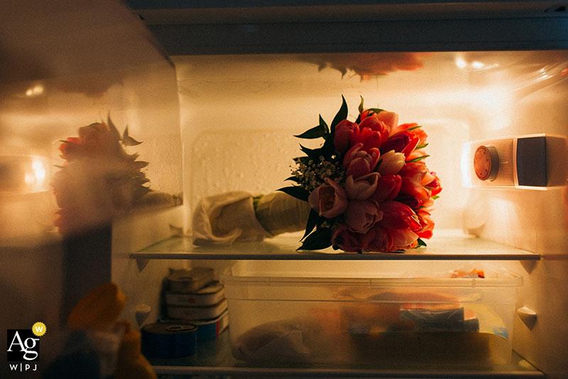 svadobná kytica v chladničke, výherná fotografia v asociácii WPJA