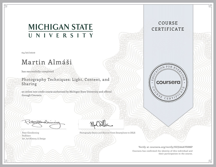 Coursera certificate Michigan state university in photography